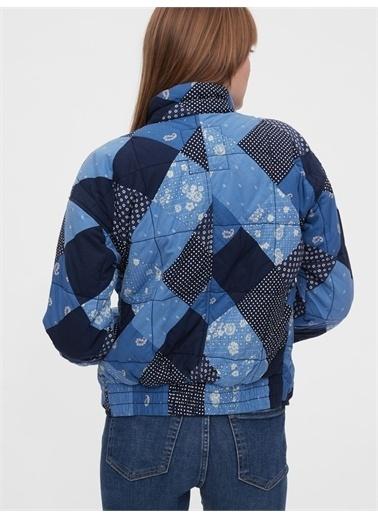 Gap Gap 600365 Patchwork Dik Yaka Uzun Kol Fermuarlı Kadın Ceket Mavi